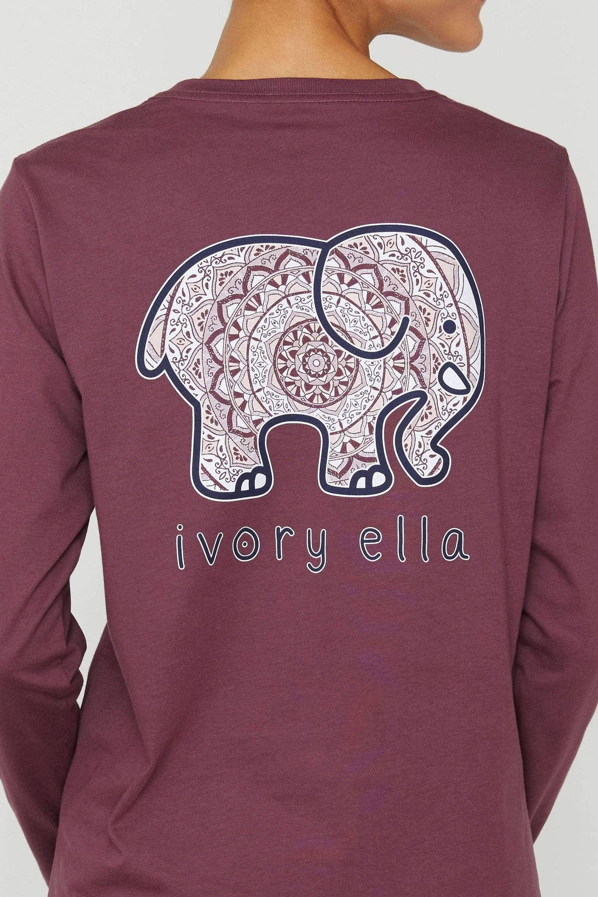 Ivory Ella Women's Long Sleeve Shirts Eggplant Mystical Mandala Long Sleeve Ella Tee