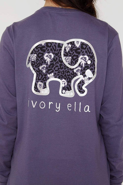 Ivory Ella Women's Long Sleeve Shirts Graystone Animal Print Ella Tee