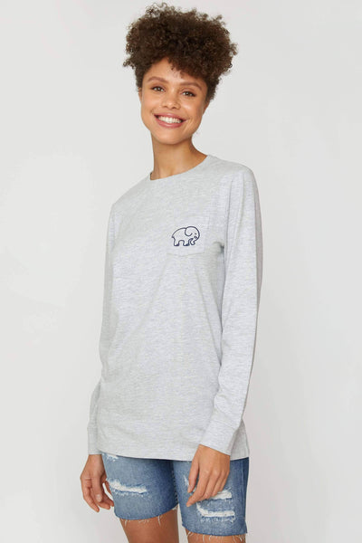 Heather Grey A Good Book Long Sleeve Ella Tee - Ivory Ella - Women's Long Sleeve Shirts
