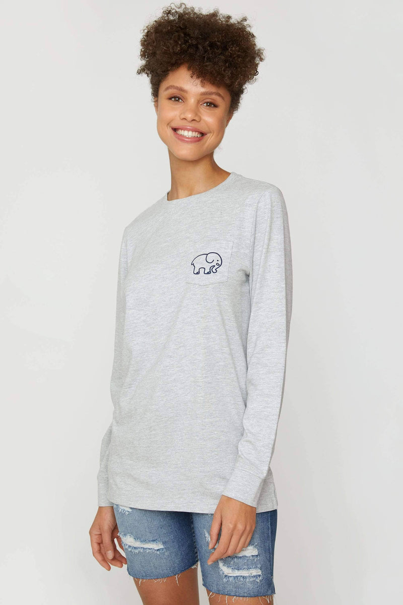 Ivory Ella Women's Long Sleeve Shirts Heather Grey A Good Book Long Sleeve Ella Tee