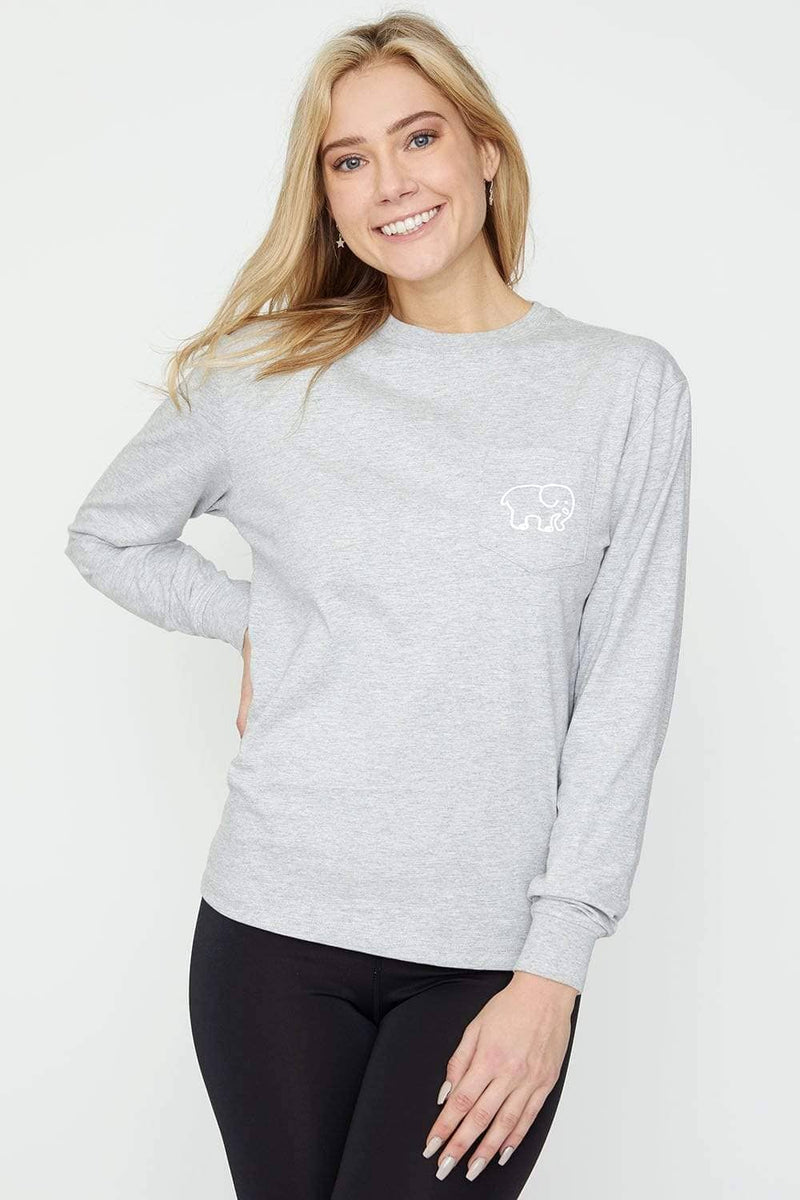 Ivory Ella Women's Long Sleeve Shirts Heather Grey Moon & Stars Classic Tee
