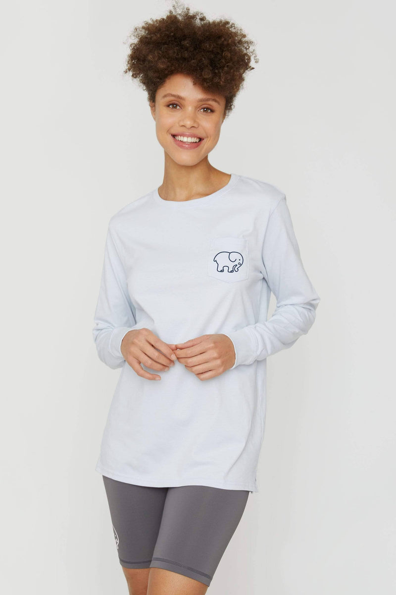 Moonstone Blue Expressions Long Sleeve Ella Tee - Ivory Ella - Women's Long Sleeve Shirts