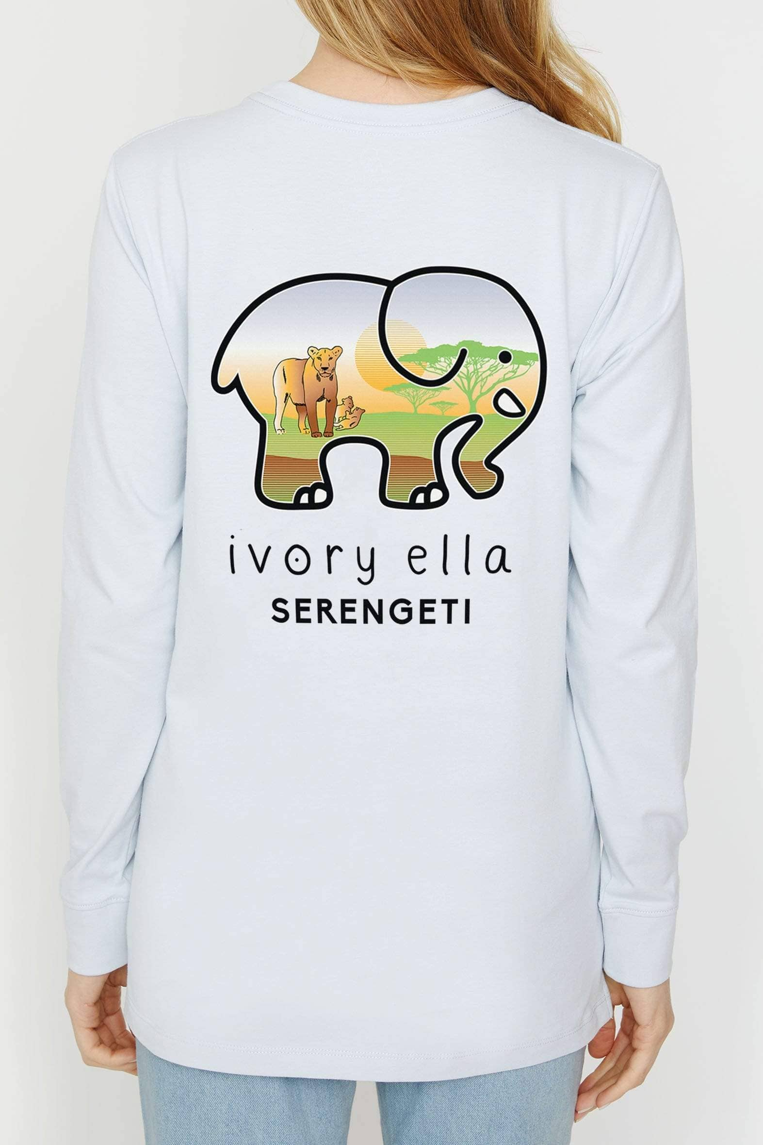 Moonstone Serengeti Lion Ella Tee - Ivory Ella - Women's Long Sleeve Shirts