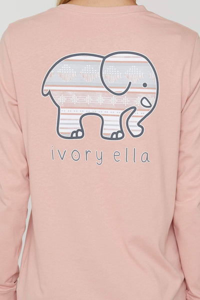 Rose Tan Ojai Stripes Long Sleeve Ella Tee - Ivory Ella - Women's Long Sleeve Shirts