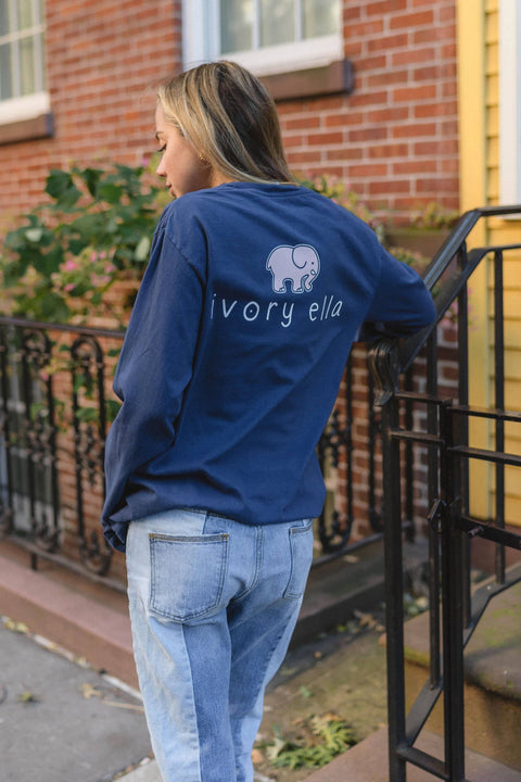 Ivory Ella Women's Long Sleeve Shirts S Classic Fit Dark Navy Signature Logo