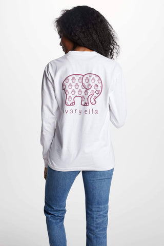 Ivory Ella Women's Long Sleeve Shirts S Classic Fit Soft White Ditzy Hamsa Tee