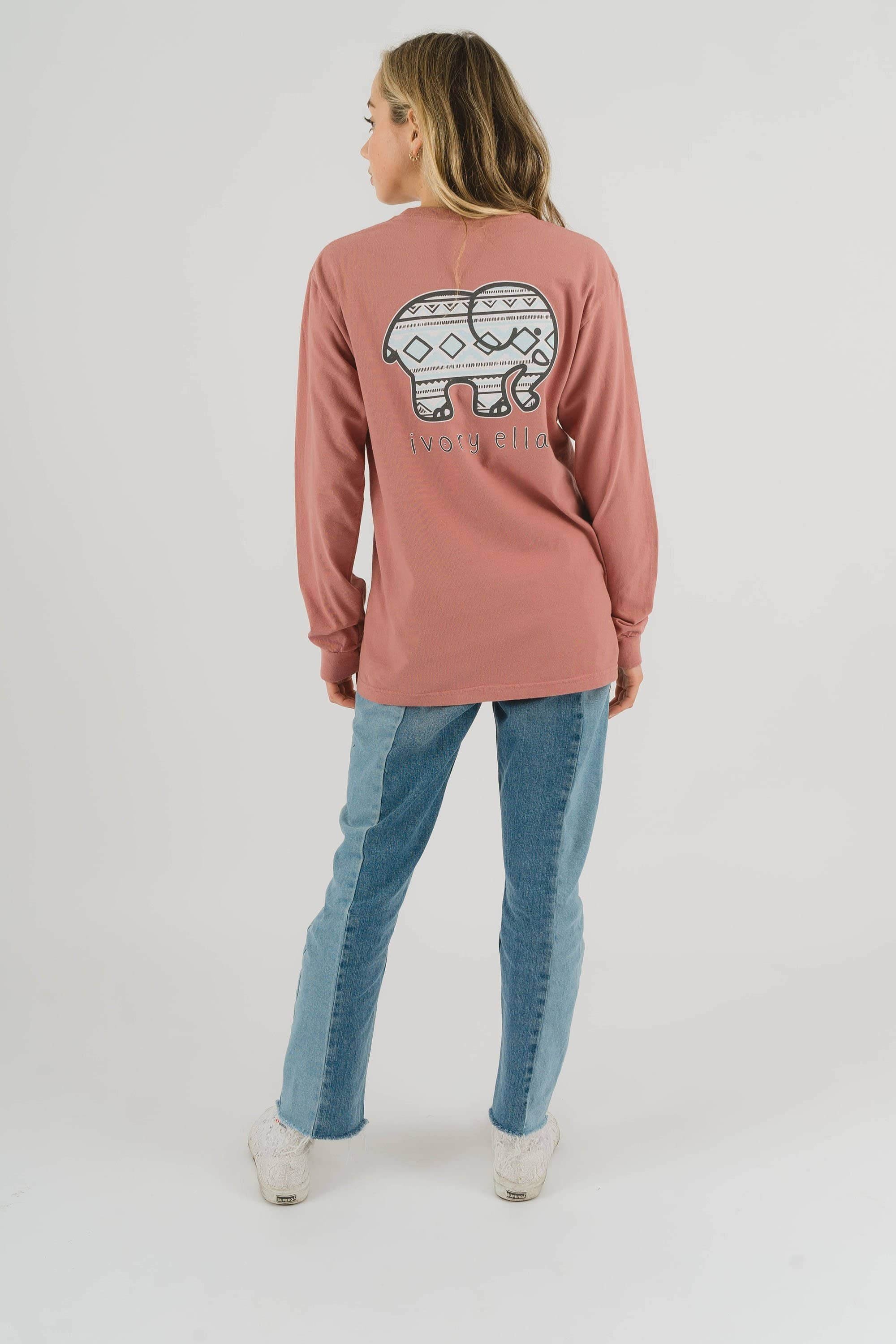 Classic Fit Vintage Rose Tribal Tee - Ivory Ella - Women's Long Sleeve Shirts