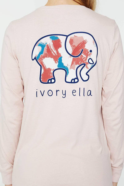 Ivory Ella Women's Long Sleeve Shirts Sepia Rose Abstract Paint Ella Tee