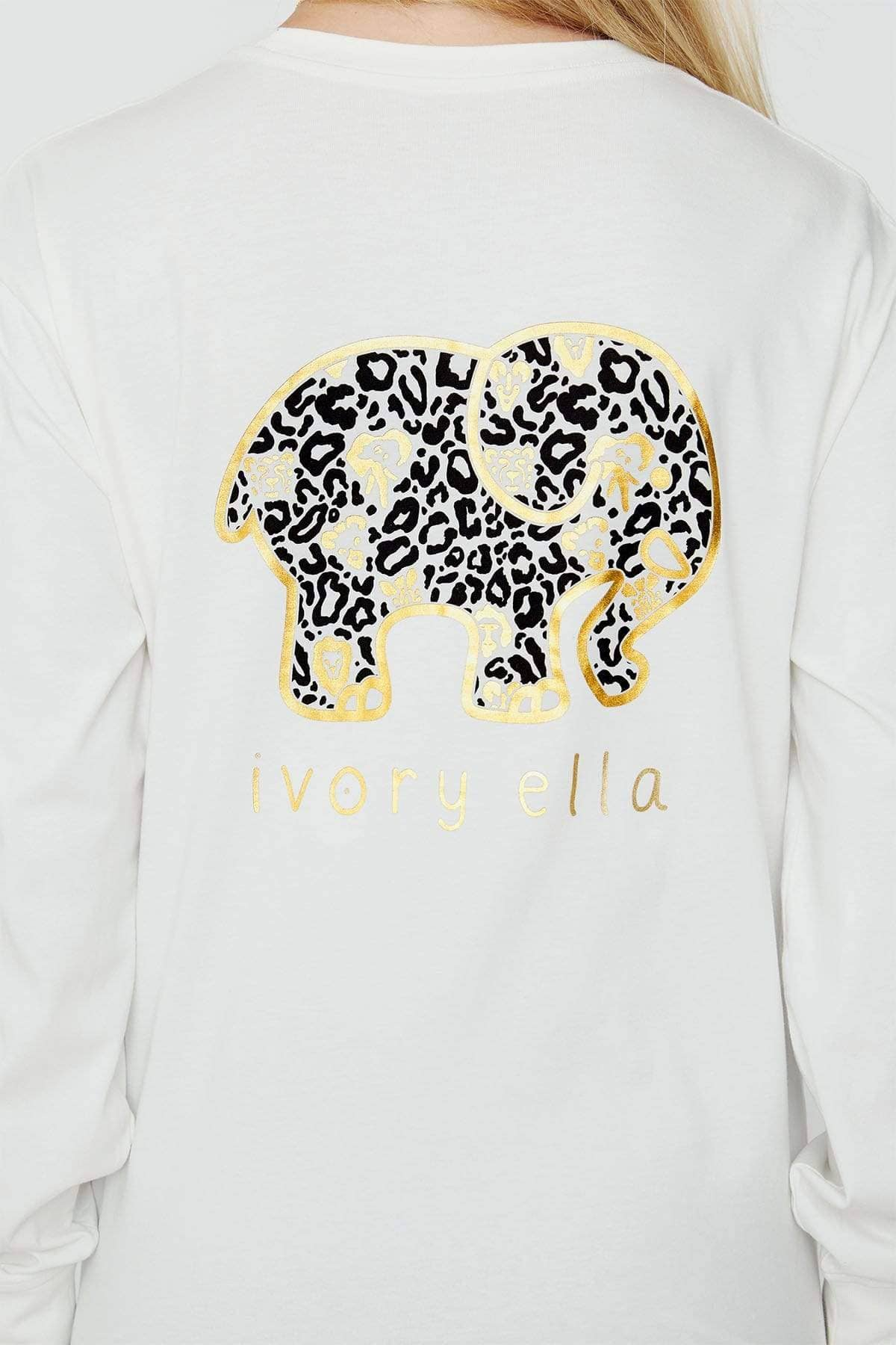 Ivory Ella Women's Long Sleeve Shirts Soft White Animal Print Classic Tee