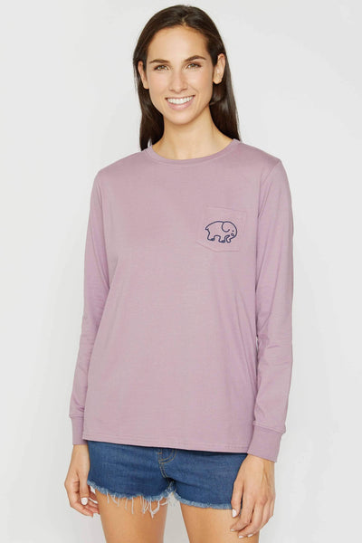Ella Fit Very Grape Fiore Paisley Tee - Ivory Ella - Women's Long Sleeve Shirts