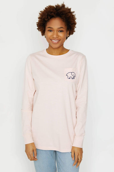 Ella Fit Crystal Pink Tennis Long Sleeve Tee - Ivory Ella - women's long sleeve shirts