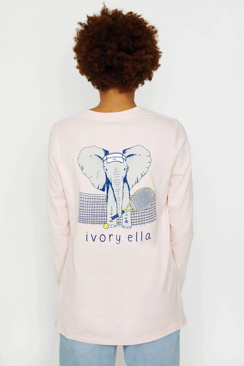 Ivory Ella Women's Long Sleeve Shirts XXS Ella Fit Crystal Pink Tennis Long Sleeve Tee