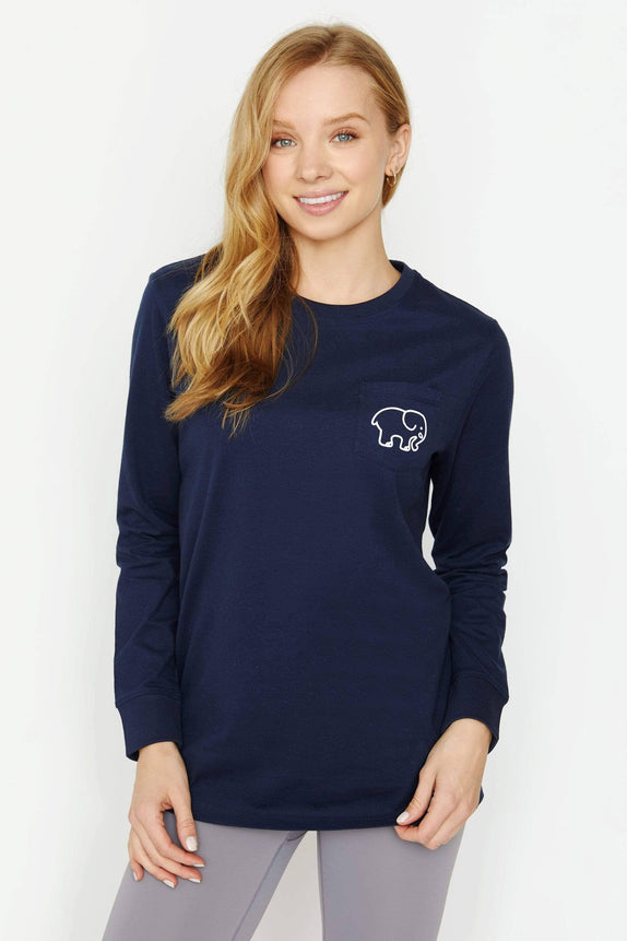 Ella Fit Dark Navy New Lacrosse Long Sleeve Tee