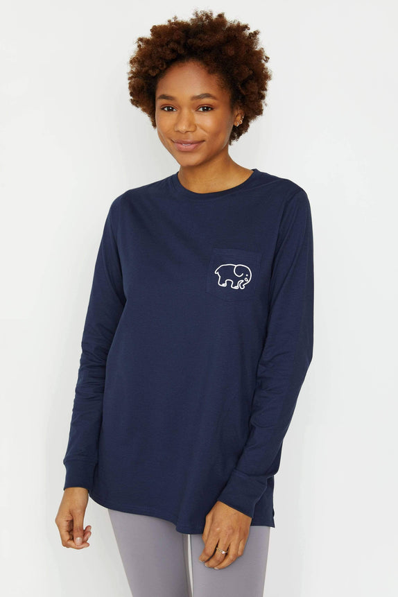 Ella Fit Dark Navy Soccer Long Sleeve Tee
