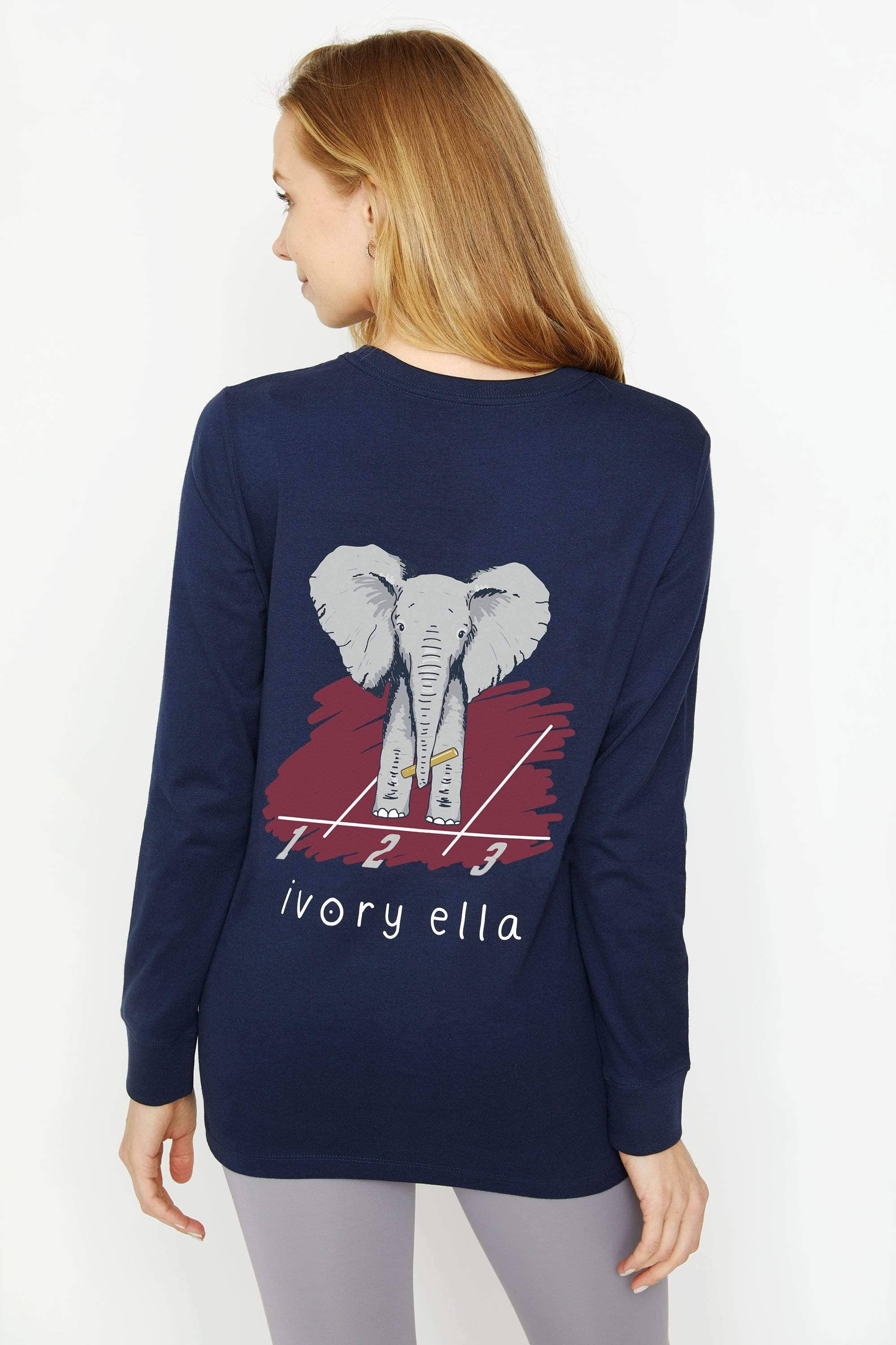 Ivory Ella Women's Long Sleeve Shirts XXS Ella Fit Dark Navy Track Long Sleeve Tee