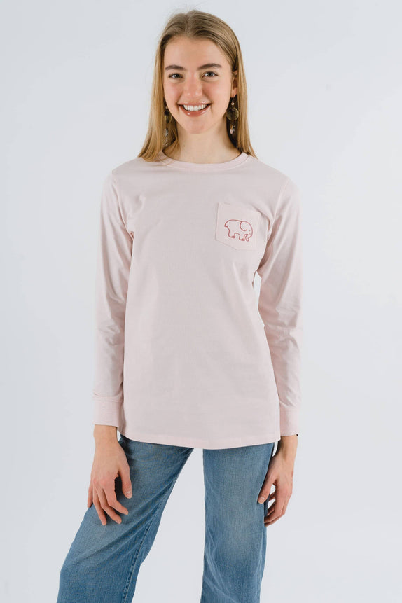 Ella Fit Organic Crystal Pink Watercolor Mountains Tee