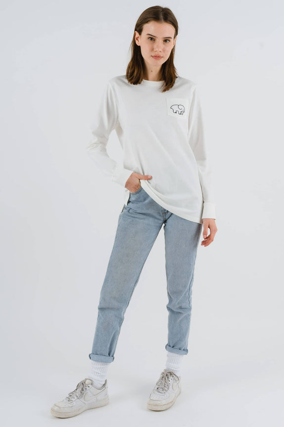 Ella Fit Organic Soft White Marble Tee