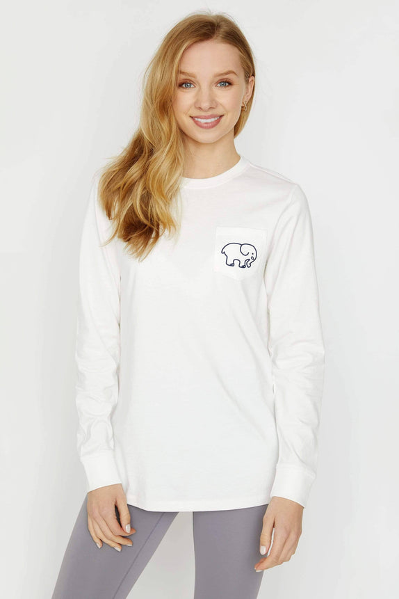 Ella Fit Soft White Lacrosse Long Sleeve Tee