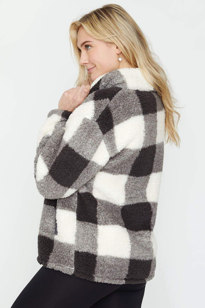 Ivory Ella Women's Outerwear Black Plaid Quarter Zip Sherpa