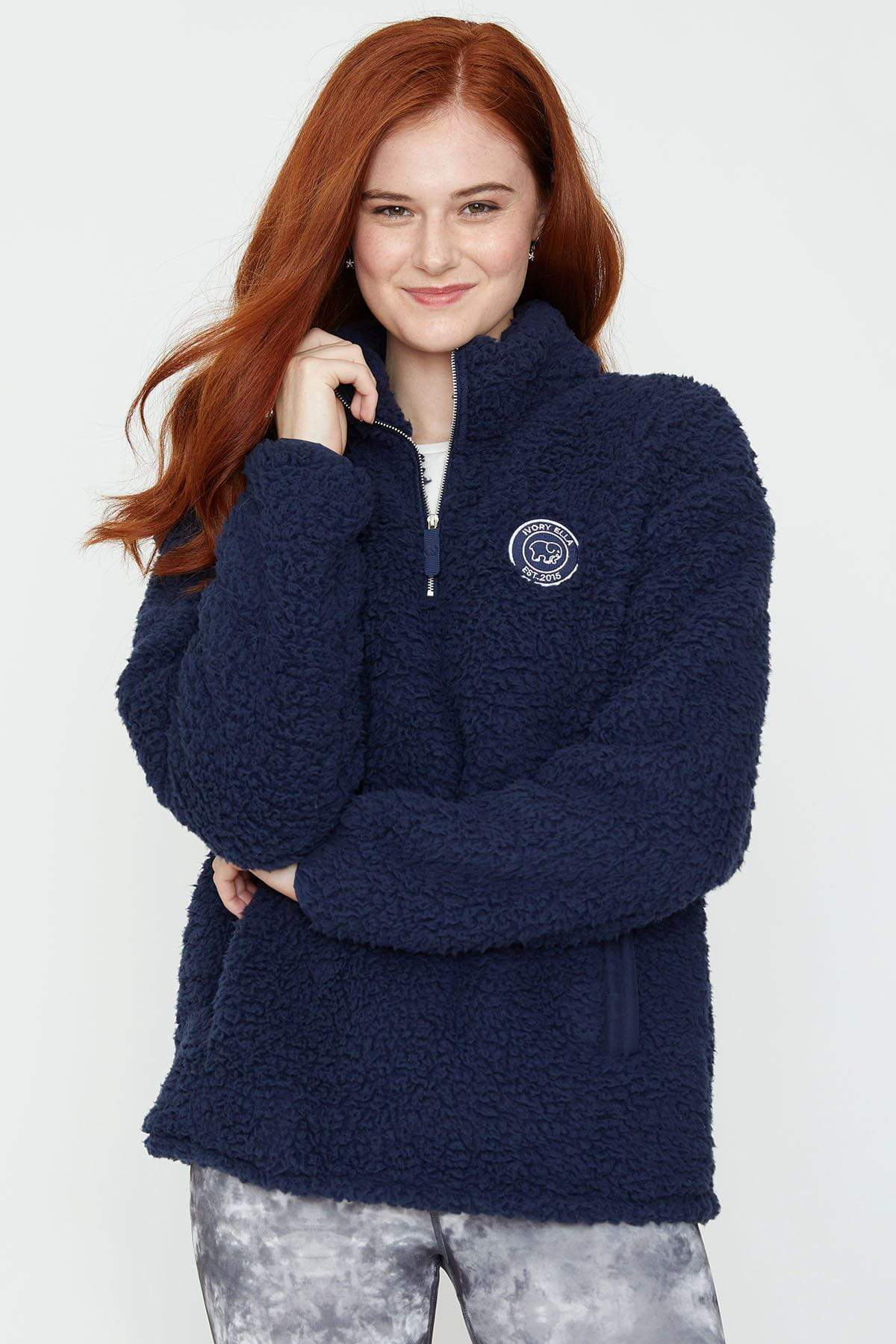 Ivory Ella Women's Outerwear Dark Navy Quarter Zip Sherpa
