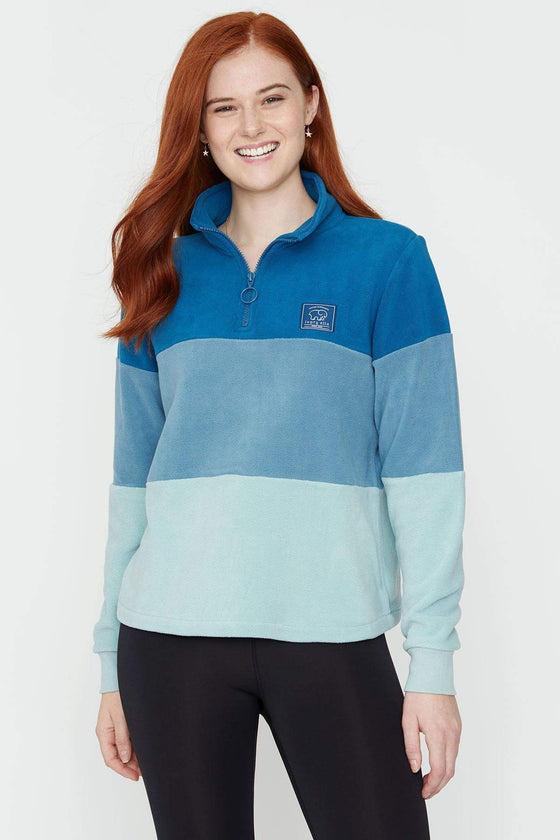 Moroccan Blue Colorblock Fleece Pullover
