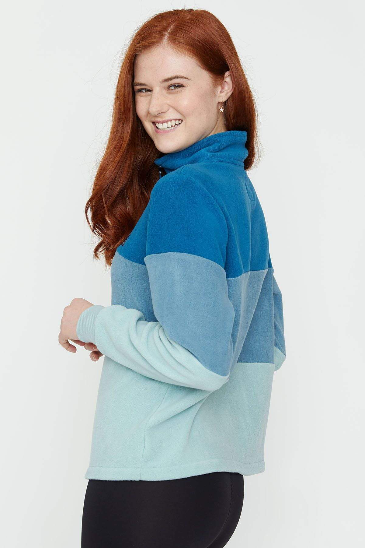 Ivory Ella Women's Outerwear Moroccan Blue Polar Fleece Combo