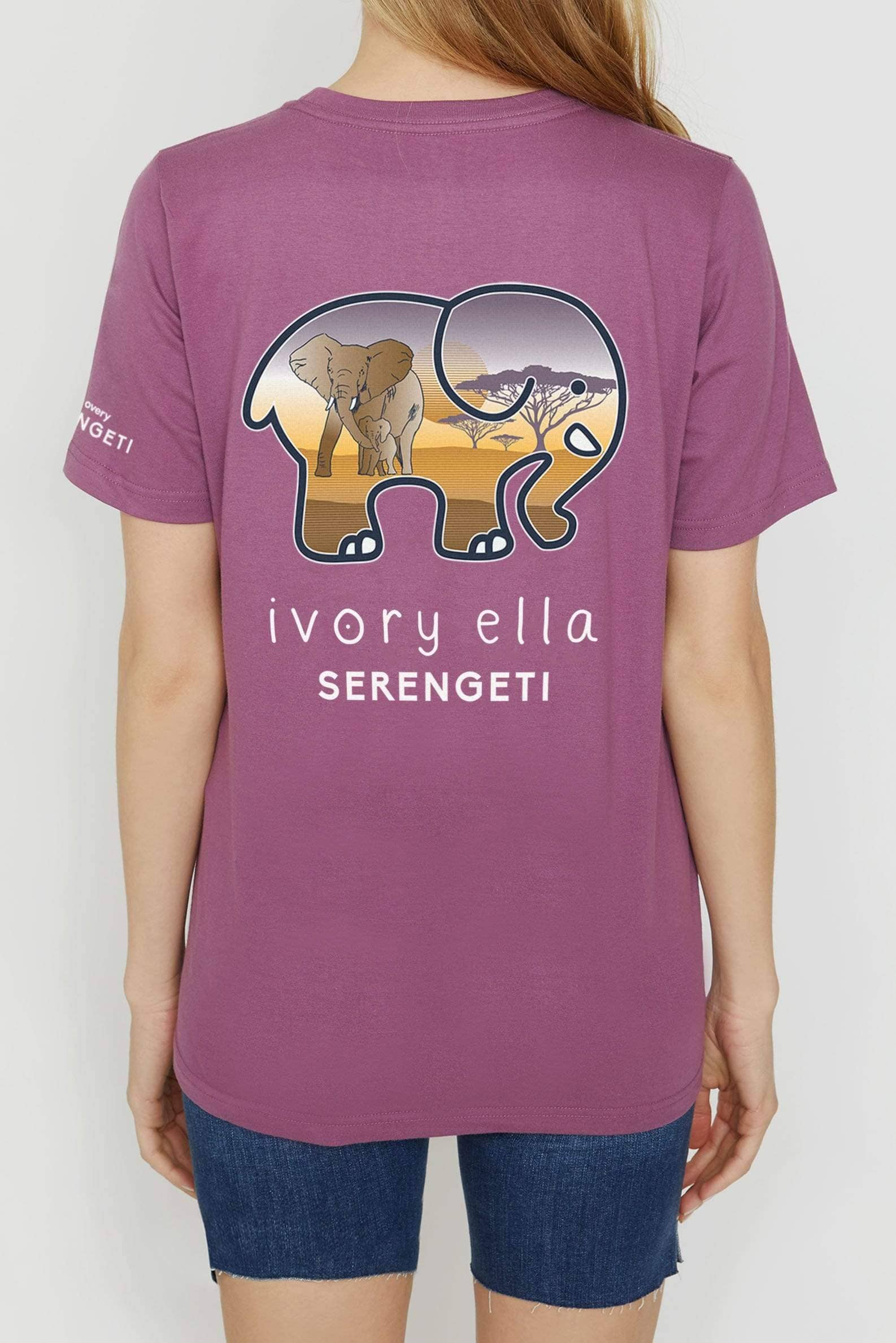 Berry Serengeti Elephant Ella Tee - Ivory Ella - Women's Short Sleeve Tees