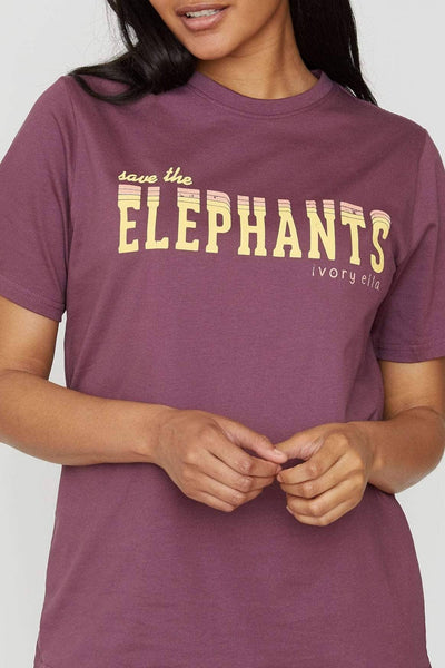 Eggplant Save the Elephants Graphic Tee