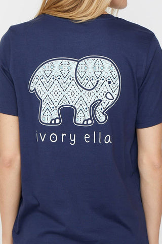Ivory Ella Women's Short Sleeve Tees Ella Fit Navy Sketchy Mosaic