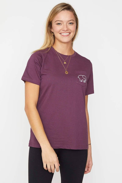 Ivory Ella Women's Short Sleeve Tees Prune Purple Animal Print Ella Tee