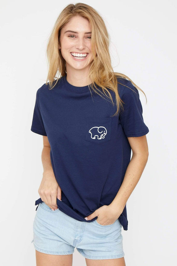 Ella Fit Dark Navy Football Tee