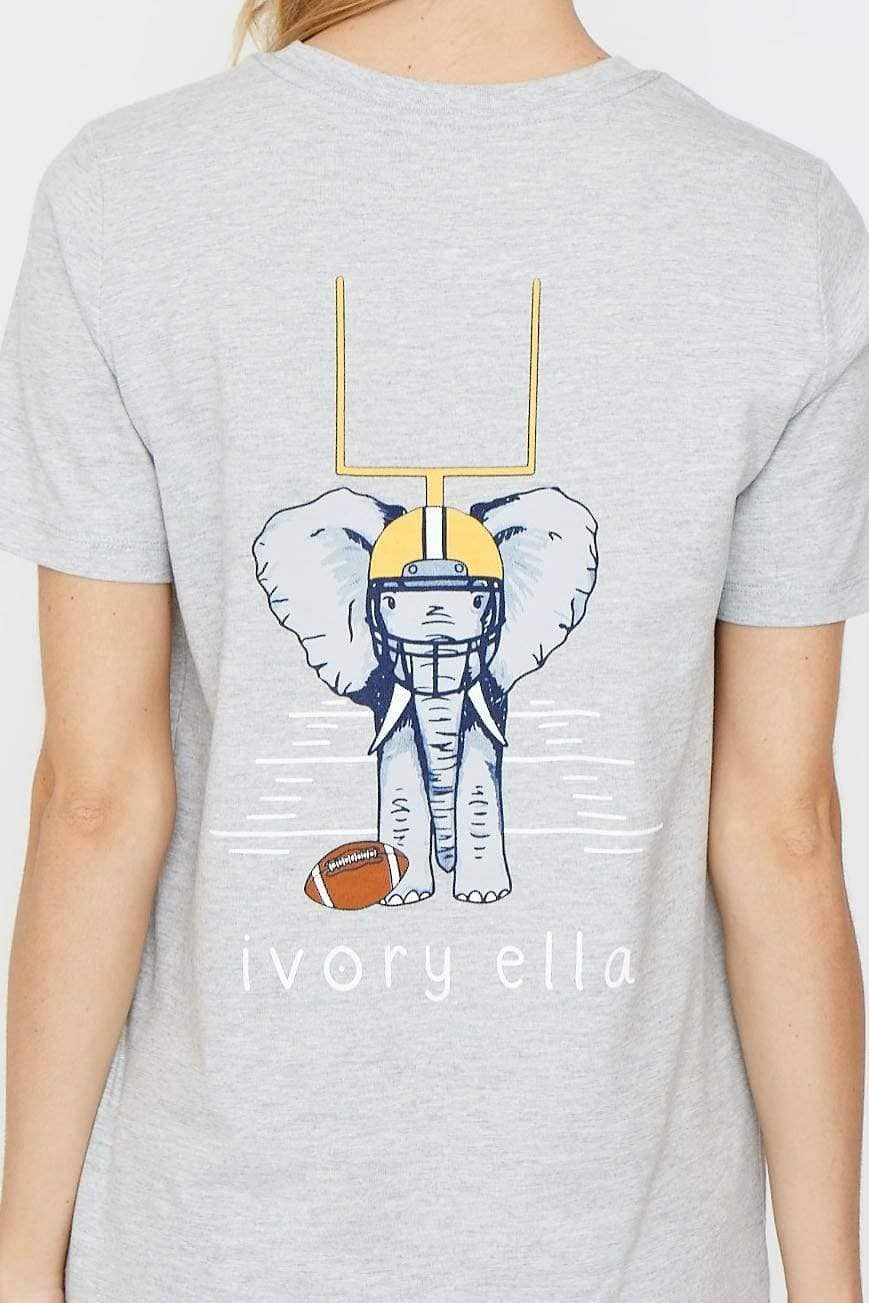 Ivory Ella Women's Short Sleeve Tees XS Ella Fit Heather Grey Football Tee