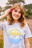 Ivory Ella Women's Short Sleeve Tees XS Ella Fit Moonstone Blue Here Comes The Sun Tee