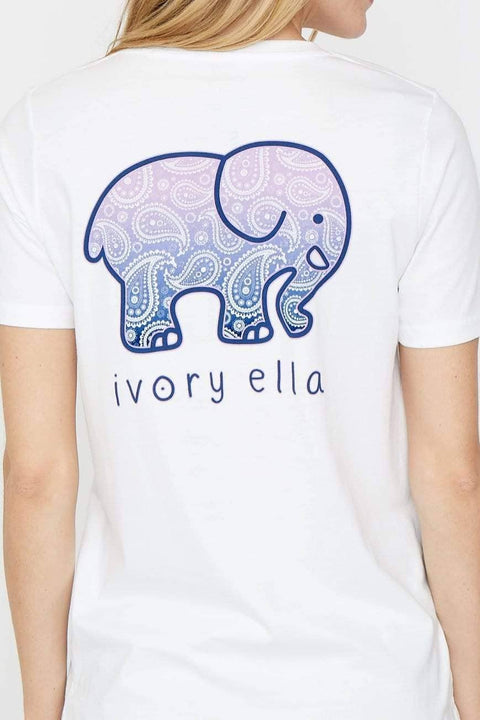 Ivory Ella Women's Short Sleeve Tees XS Ella Fit White Ombre Paisley Tee