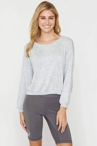 Ivory Ella Women's Sweatshirts Heather Grey Cozy Cropped Crew