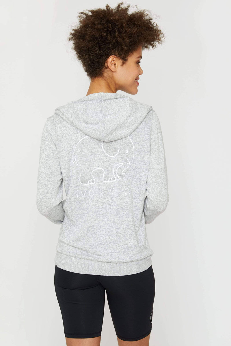 Ivory Ella Women's Sweatshirts Heather Grey Cozy Zip Hoodie