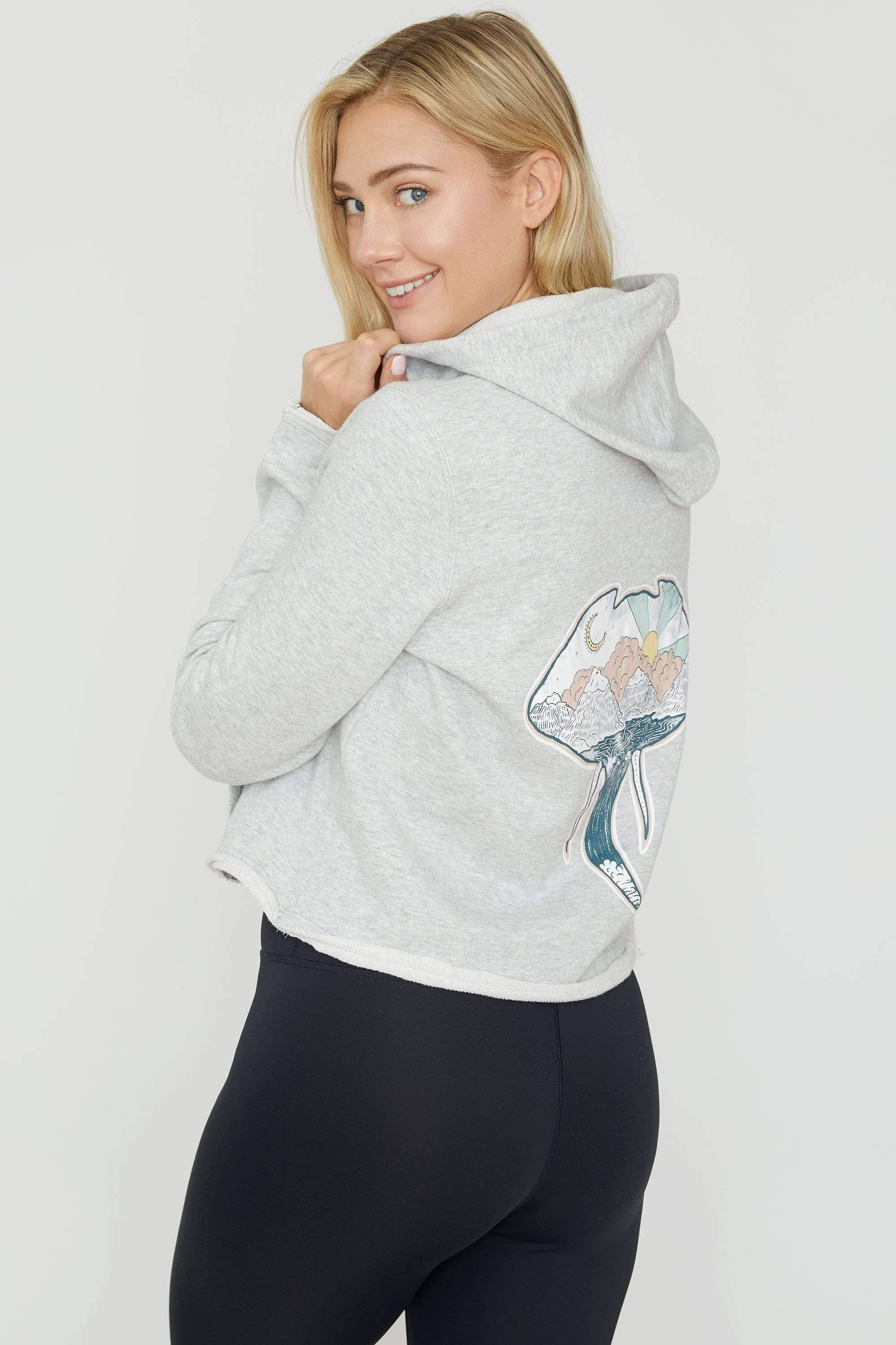 Heather Grey Cropped Zip Hoodie - Ivory Ella - Women's Sweatshirts
