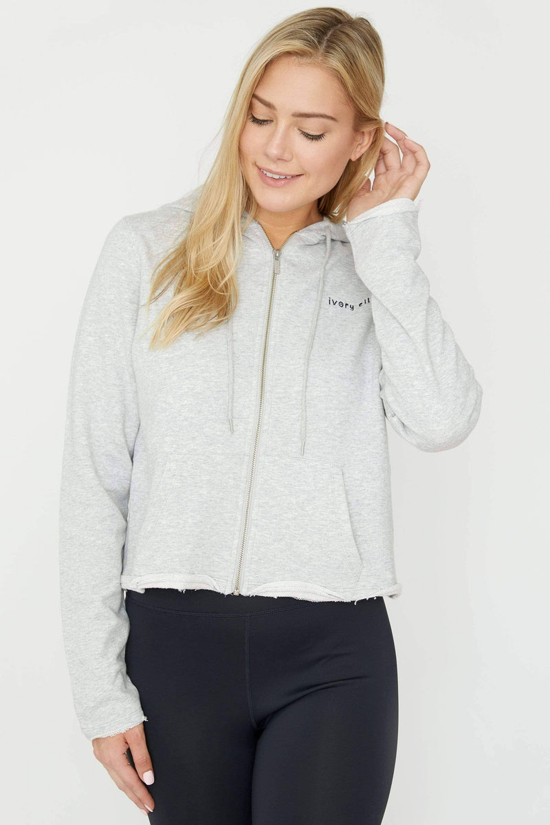 Ivory Ella Women's Sweatshirts Heather Grey Cropped Zip Hoodie