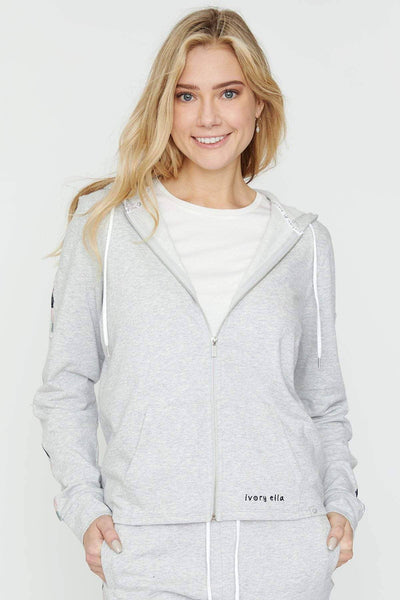 Ivory Ella Women's Sweatshirts Heather Grey Embroidered Hoodie
