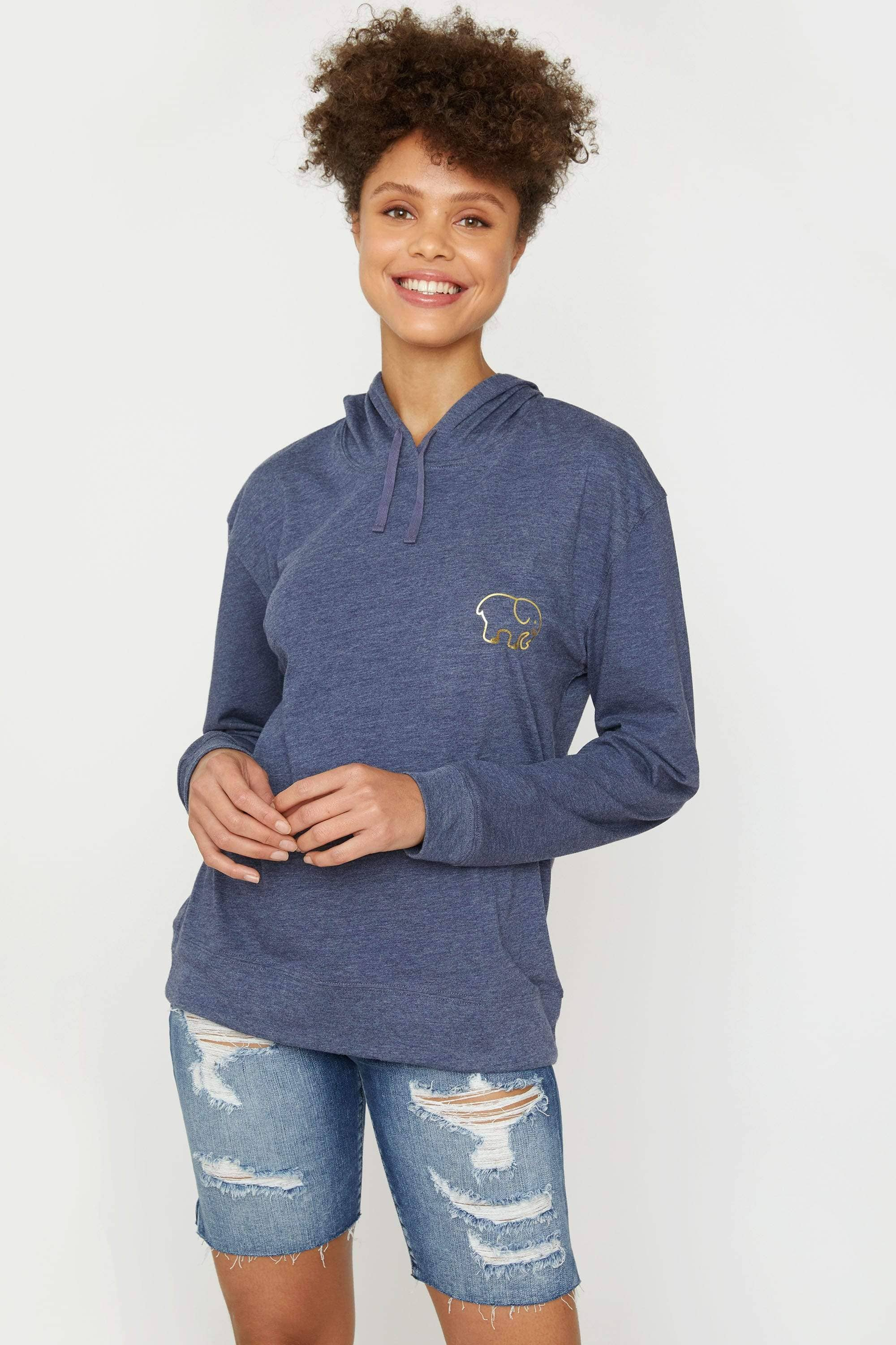 Ivory Ella Women's Sweatshirts Navy Heather Tshirt Hoodie