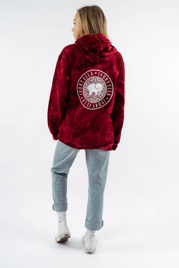 Oversized Maroon Acid Wash Medallion Print Hoodie