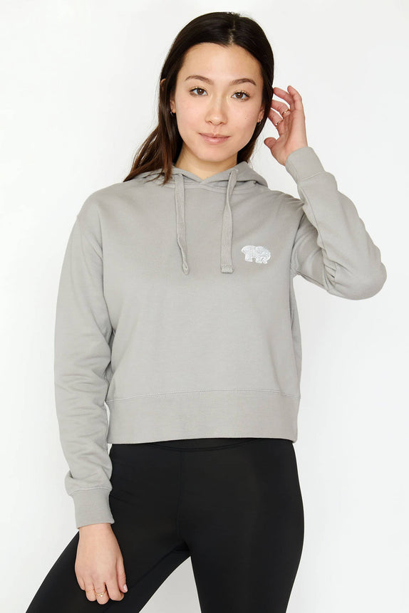 Grey Organic French Terry Cropped Hoodie