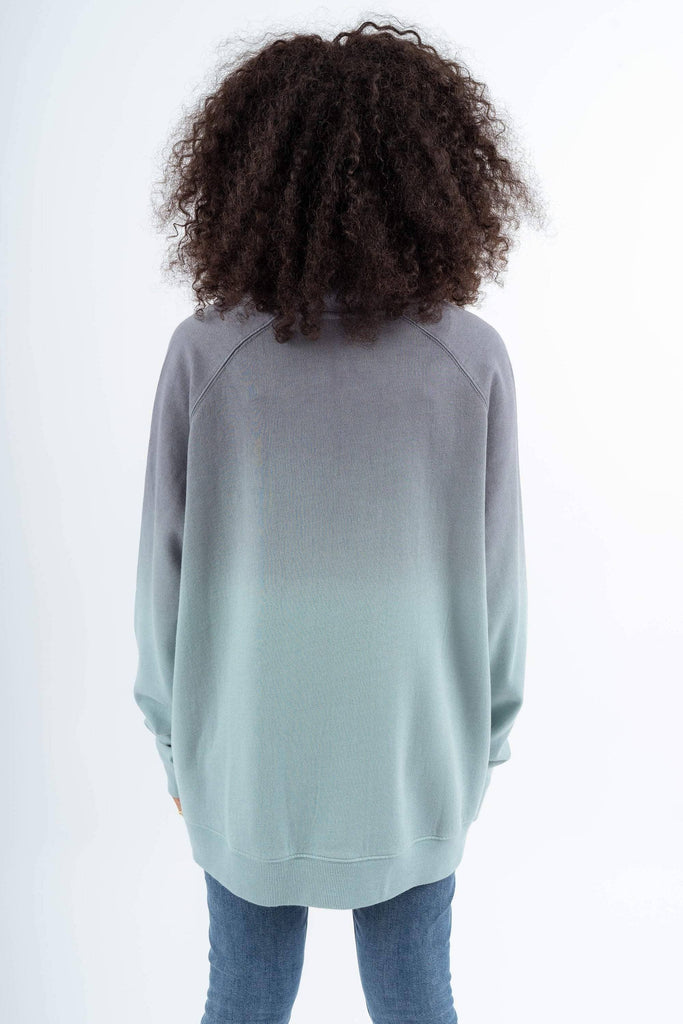 ecd86bdb2c6de ... Zip Ivory Ella Women s Sweatshirts XS Grey and Mint Ombre Quarter ...