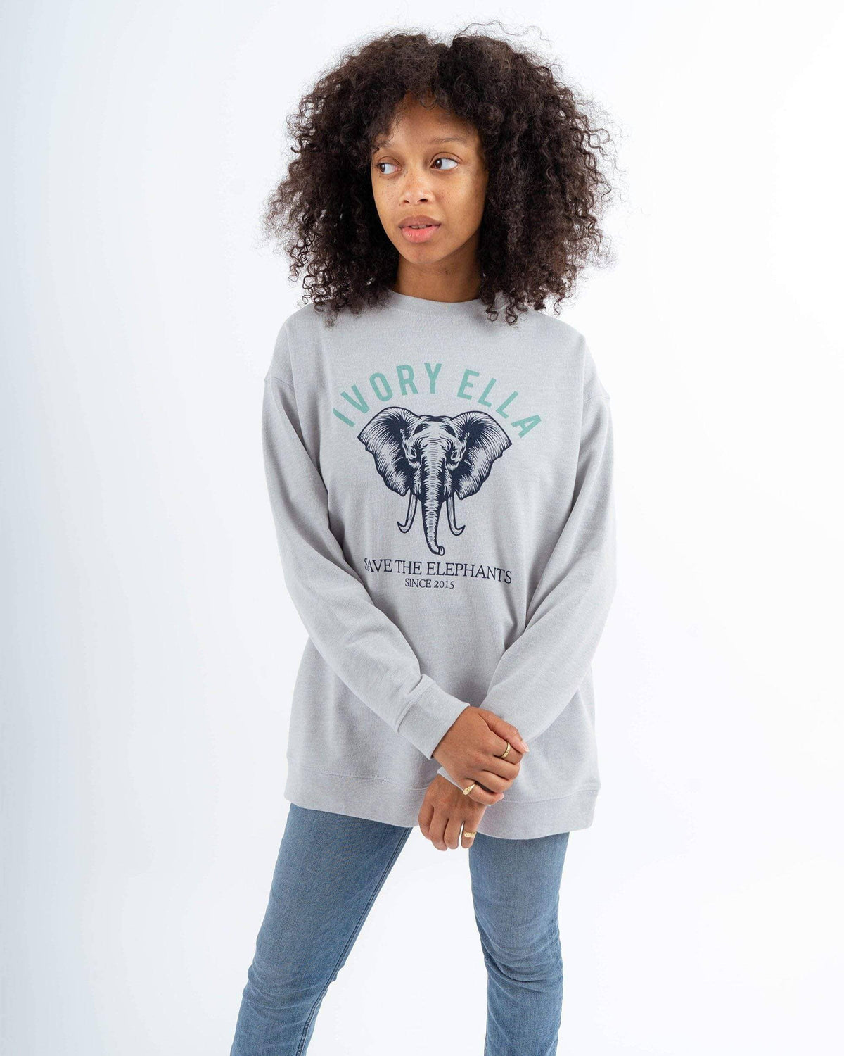 35b909b59 Ivory Ella Women s Sweatshirts XS Heather Grey Save the Elephants Crew  Sweatshirt
