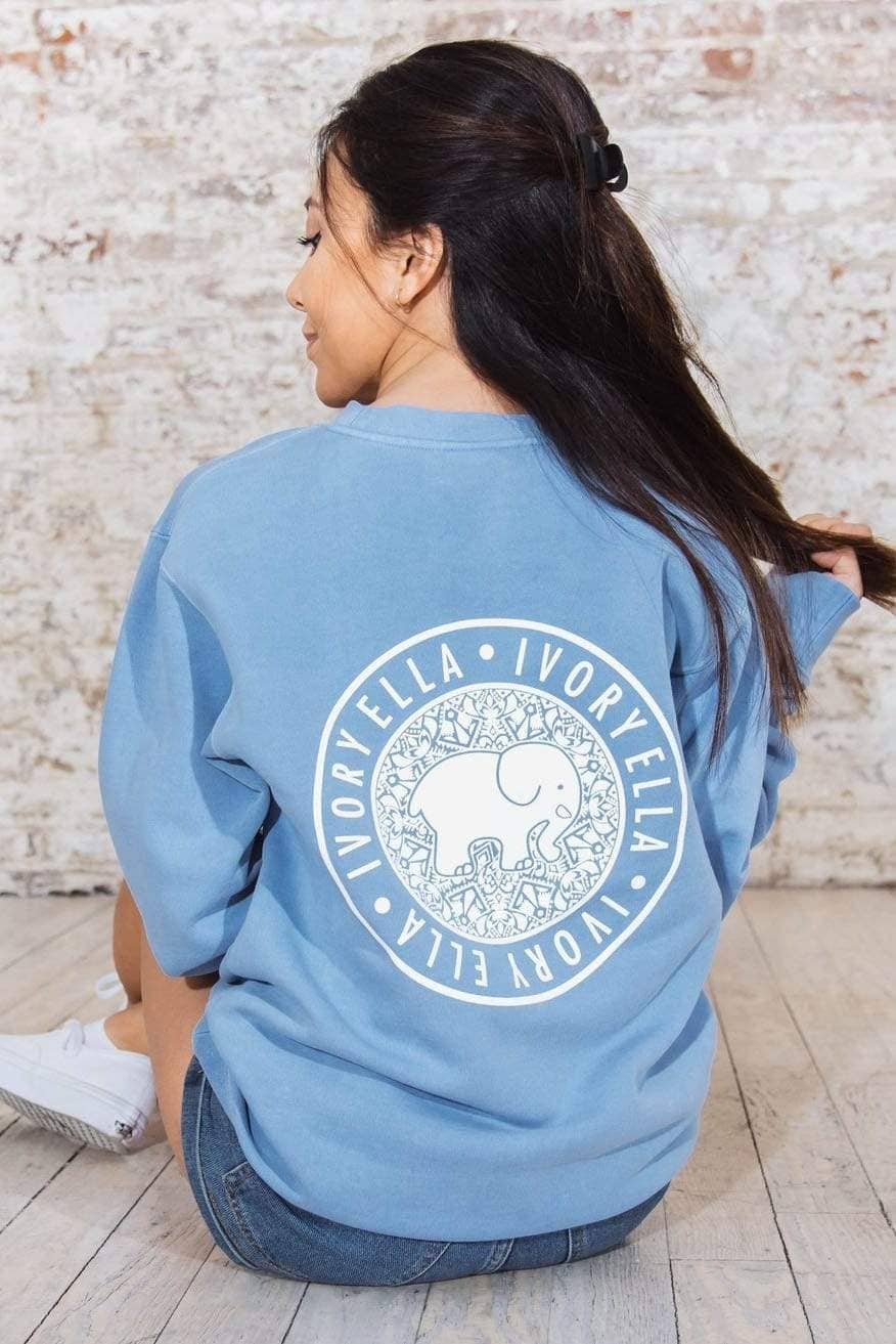 Ivory Ella Women's Sweatshirts XS Light Blue Crew Neck Sweatshirt