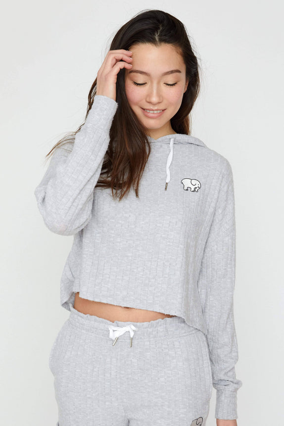 Light Grey Cozy Rib Cropped Hoodie