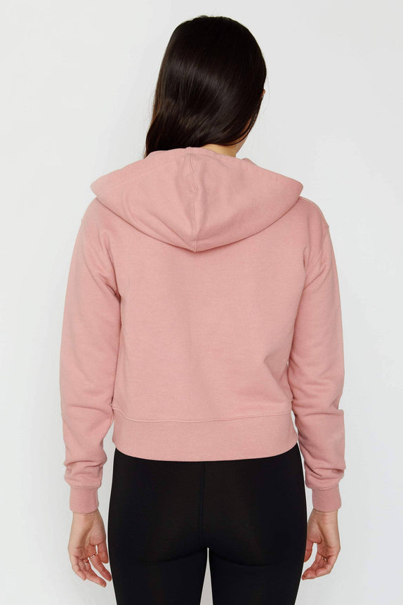 Rose Quartz Organic French Terry Cropped Hoodie