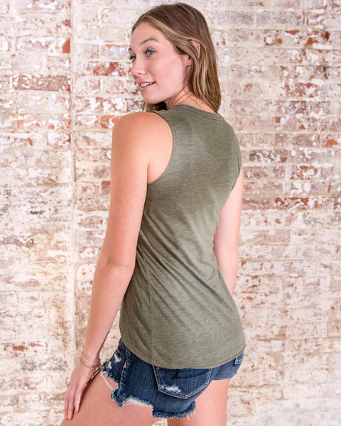 Ivory Ella Women's Tanks S Olive Elephant Wings Tank