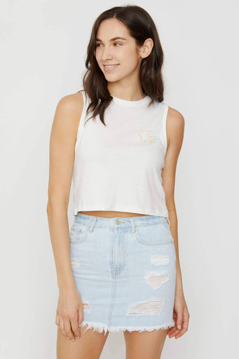 Soft White Cropped Tank