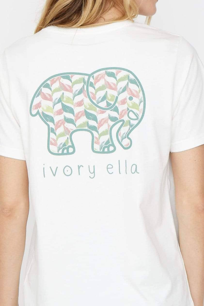 Ivory Ella XS Ella Fit Soft White Chevron Vines Tee